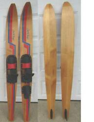 Vintage Tourni Pro Cut And039n Jump Wood Water Skis -- Very Good Cond. +