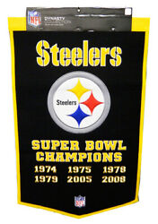 Pittsburgh Steelers 24x36 Embroidered Genuine Wool Nfl Dynasty Banner Pennant