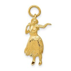 Real 14kt Yellow Gold 3-d Hula Dancer Charm