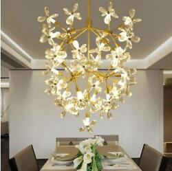 Flower Crystal Chandelier Gold Iron Ceiling Lamp Ding Room Pendant Light Ficture