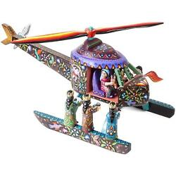 Nacimiento Helicoptero / Woodcarving Mexican Folk Art Sculpture Nativity