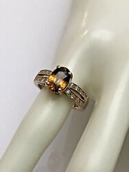 14k Rose Gold Oval 3.19 Ct Root Beer Zircon And Diamond Ring Size 7, 4.6 Gr.