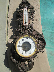 Antique French Victorian Carved Walnut Wood Wall Cartel Clock Marti 2