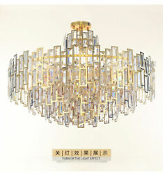 Crystal chandelier postmodern stainless steel living room golden LED hall lamps