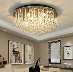 Light Flush Mount Ceiling Chandelier Full Of Clear Crystal Drop Fixtures Lamp Yc