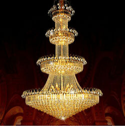 European golden crystal chandelier living room staircase house hall light lamp