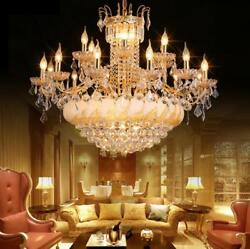 LED crystal living room chandelier golden villa hall restaurant lamp light Yc.R