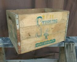 Sterling Dairy Products Antique Wooden Milk Box Crate Twin Pak Distressed Aged