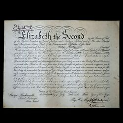 Queen Elizabeth Ii Signed Document 1st Year Autograph Commission Appointment Er2