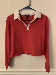 Forever 21 Red And White Sz M Cropped Collared Cute Button Top Playful $8.00