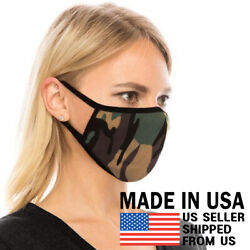 Camo Face Mask - Unisex Adult Washable Breathable Cotton Camouflage Black Fabric