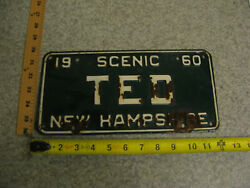 1960 60 New Hampshire Nh Vanity License Plate Ted Teddy Theodore The Movie