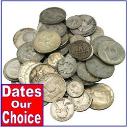 10 Face Value 90 Silver Coins - Random Year And Denomination - Full Dates