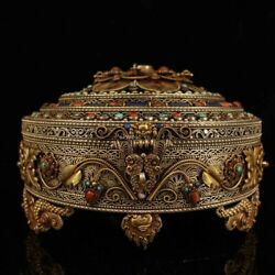 9'' Tibet Silver Filigree Gold Inlay Turquoise Red Coral Gem Pot Jar Case Boxes