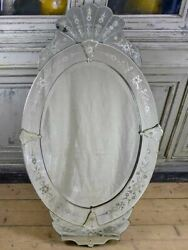 Antique Venetian Mirror - Oval With Crest 27½ X 48