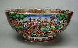 Chinese Famille Rose Hunting Bowl, Qianlong 1736-95, With European Figures