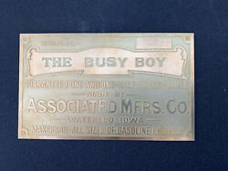 New Associated Busy Boy Brass Data Tag Antique Gas Engine Hit Miss