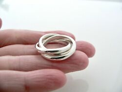 And Co Triple Rolling Stacking Ring Band Sz 5.5 Rare Love Gift Excellent