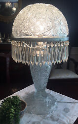 Antique Cut Glass 25andrdquo Tall Table Lamp 52 Lusters Prisms Excellent
