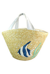 Nautical Beach Straw Tote Bag with Embroidered Tropical Fish $28.75