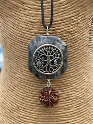 Holy Rudraksha And Larvikite Necklaces Grown Crafted On The Big Island Of Hawaii