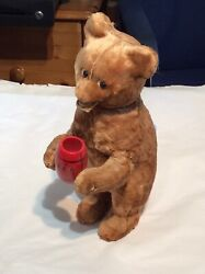 Vintage Russian Plush Wind Up Bear With Barrel Comes With Key
