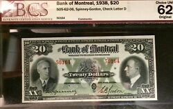 Bank Of Montreal 1938 20 Chartered Banknote Graded Unc By Bcs