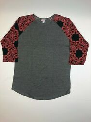 LuLaRoe Randy Gray Red Floral Pattern Tee SUPER SOFT S XL $9.95