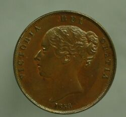 Great Britain 1858 Double Date 1 Penny Old Faint Pin Scratch On Obverse A331