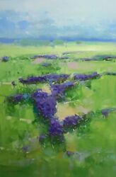 Lavenders Valley Landscape Original Oil Painting Large Size One Of A Kind