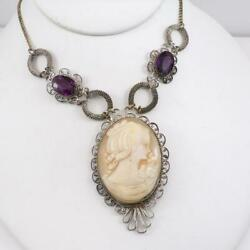Vtg Antique Filigree Silver Tone Carved Little Girl Cameo Necklace 18