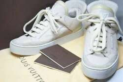 Pre-owned Authentic Louis Vuitton Menand039s Sneakers White X Ivory Leather 5 1/2