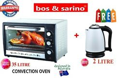 35l Convection Rotisserie Grill Bbq Oven 1500w + 2l Gloss White Cordless Kettle