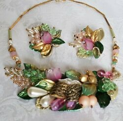 Gorgeous Vintage Custom Necklace Andearrings Set Lucite Roses, Beaded Gold Leaves