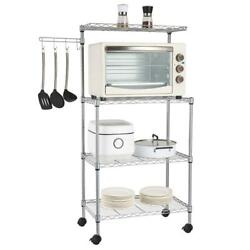 4 Tier Kitchen Rack Microwave Oven Stand Storage Rolling Cart Shelf