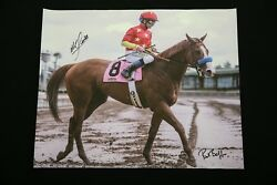 Justify Mike Smith Signed Print Giclee Canvas Horse Racing Triple Crown Derby