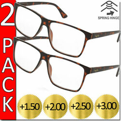 READING GLASSES MENS WOMENS HIGH QUALITY SPRING HINGE READERS 2 PACK NEW SQUARE $8.95