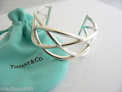 And Co Silver Wide Weave Knot Cuff Bangle Bracelet Rare Gift Pouch Love