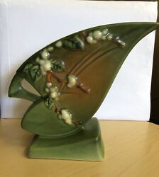Authentic Roseville Pottery Snowberry Green Vase 1fh-7 - See Photos Before Buy
