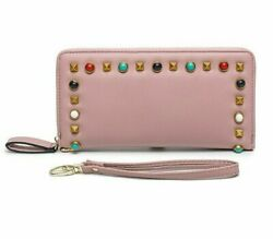 Female Long Card And Money Organizer Wallet Metal Decorations Leather Coin Purse