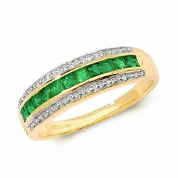 Hallmarked 9ct Yellow Gold 0.088ct Diamond And Square Emerald Band Ring Sizes J-q
