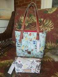 Nwt Disney Dooney And Bourke Dog 2017 Blue/ Mint Original Tote Bag And Cosmetic Case