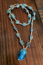 Vintage Turquoise Carved Soap Stone Scarab Beetle Egyptian Revival Necklace
