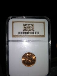 1969-d Lincoln Memorial Cent Ngc Certified Ms 66 Rd