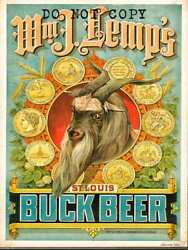 Large Pre Prohibition Brewery Poster Lithograph Reprint Lempand039s St. Louis Beer