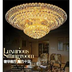Luxury Court Style K9 Clear Crystal Led Ceiling Lamp Remote Dimming Light Lights