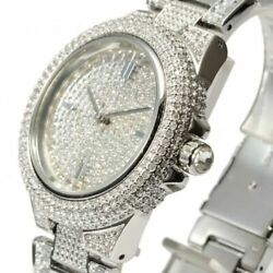 Mk5869 Camille Crysta Pave Silver Tone Women Watch Brand New