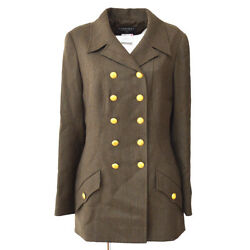 96a 40 Cc Button Double Breasted Long Sleeve Coat Jacket Brown 02507