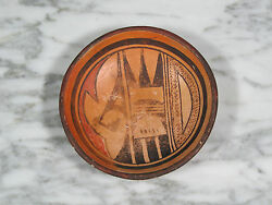 Antique 1900-1930 Hopi Pueblo Native American Polychrome Pit Fired Pottery Bowl
