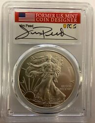 2008 Reverse 2007 Burnished Silver Eagle Pcgs Sp70 Jim Peed Signed